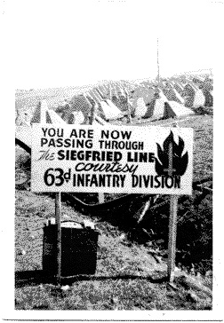 63rd Infantry Division Advertisement at Siegfried Line