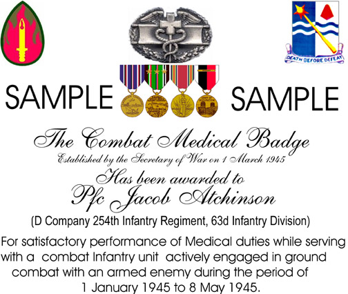 Combat Medical Badge Certificate Sample